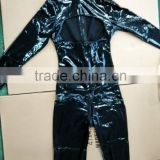 Unique design open breast with long sleeve sexy ladies leather catsuit