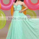Suzhou factory wholesale beautiful chiffon beaded long bridesmaid wedding dress