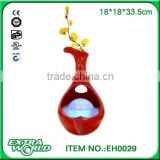 Modern Decorative Arts & Crafts ornaments red ceramic flower inserted glass mist water fountain
