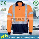 reflective safety working long sleeves shirt high quality polyester polo shirt cheap working polo shirt