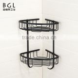 Euro-Style Wall mounted Bath fittings Rubber paint brass hanging corner basket for bathroom storage
