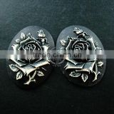 30x40mm oval dark resin rose black cameo vintage style cabochon DIY pendant charm supplies 4120073