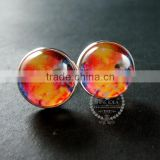 20mm silver plated orange galaxy universe art collage round glass cabochon fashion cufflinks wedding cuff link gift 6600060
