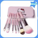 Hot sell professional 7pcs per set hello kitty makeup brushes pink wood handle synthetic hair make up brush set