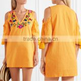 boho cold-shoulder flora embroidered crinkled cotton mini dress mexican western dresses names HSd5199