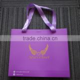 China factory custom high end fancy brown eco friendly gift paper bag with ribbon handles