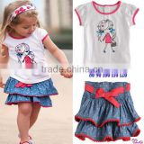 2014 brand new girls 2pcs clothing sets girls cute t shirts+jeans skirts baby girls outfits kids summer clothes