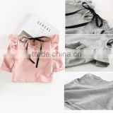 5pcs/lot New Girls T-shirts Flying Sleeve Cotton Bow Toddler Kids Girl Tee Baby Infant Tops