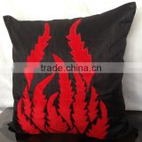 Black Pillow with Red applique, throw pillow,Decorative Pillow Cover, Velvet Flame Applique, couch toss, sofa toss