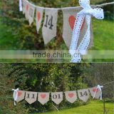Personalised Bunting, Hessian Save The Date Wedding Bunting, Vintage Rustic Photo Prop Bunting