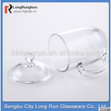 LongRun 12oz classical shape first class clear drinking water Chinese tea glass cup with lid