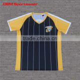 Black yellow striped custom short sleeve football soccer jerseys