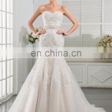 Latest design white french lace fabric Charming sash Lace Appliqued and Beaded Bridal Wedding Gowns