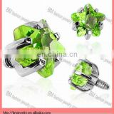 4mm Green Prong Set Star Gem Diamond Micro Dermal Anchor Tops Piercing