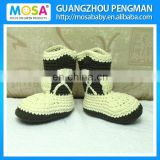 Crochet Beige and Brown Crochet Baby Cowboy/Cowgirl Boots size Newborn To Toddler Wholesale