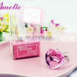 A0820 Pink Heart Crystal Diamond Ring Keyring Favor