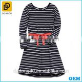 Little girls black and white stripe long sleeve dresses