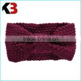 2016 Factory acrylic winter bow knitted lady headband fashionable women warm knitted headband