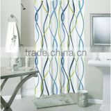Simple style multi-color lines polyester shower curtain, for family hotel bathroom curtain