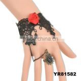 Exquisite Rose Embellished Hollow Pendant Lace Bracelet With Fringed Ring For Women