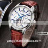 2015 hot selling mechanical movt leather strap factory Men Watch guang zhou