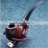 Classic Wooden Smoking Tobacco Pipe with Pouch and stand Red wooden smoking Pipe
