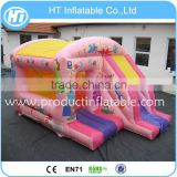 2016 Inflatable Moonwalk Bounce House For Kids , Pink Inflatable Princess Bouncer Slide