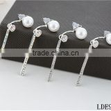 Long silver bar earrings pearl earrings with diamond