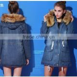 2014 Women coat Winter Jean Long European denim jacket women cheap with fur collar Coat                                                                         Quality Choice