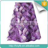 Hot selling latest cheap lace fabric with stones purple green mesh french lace for party dress