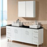 White lacquer wood 60 double sink bathroom vanity