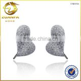 latest jewelry design for 2016 fancy heart shaped with CZ diamond micro pave earrings silver