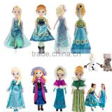 DIHAO 2015 Wholesale 40 & 50cm Kawaii cartoon stuffed plush Frozen doll princess anna & elsa olaf girls gift kids children toy