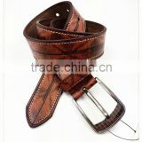 Brown printed retro pu belt for mens jeans
