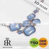 High quality blue acrylic decorative silver metal necklace hanging chain Brightness F1-80016
