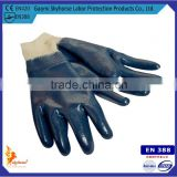 EN388 cotton jersey liner nitrile Fully-coated working Gloves with knit wrist jersey lined safety gloves