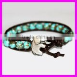 GZKJL-BL0187 Leather Wrap Gem beads Elephant Yoga Bracelet Genuine Turquoise Beaded African Bracelet