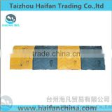 traffic road reflective rubber speed hump for Crossroads/ black and yellow removable rubber speed bump used in Intersection