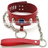 Faux leather & metal Neck restraint cuff Slave collar and leash fetish bondage product Adult Sex Game Toy Rhinestone collar