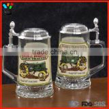 Vintage Tankard German Style Personalized Glass Beer Stein With Lid