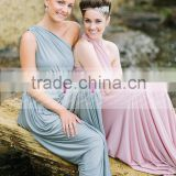 New A-line One-shoulder Chiffon Ruffles Long Bridesmaid Dress ZY514