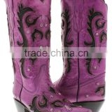 Women's New Purple Black Overlay Western Cowgirl Boots Rhinestones Studded Shaft