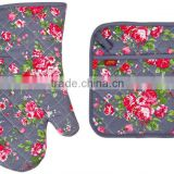 2015 HIGH QUALITY NEW DESIGN PRINTING FLOWERS AND PLANTS COTTON (OVEN MITT& POT HOLDER) KITCHEN SET