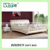 Italy royal design luxury cream color super King size leather bed DS-8015