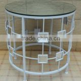 XY13999 home metal furniture, decorative mirror wrought iron glass top coffee table, living room furniture centre glass table