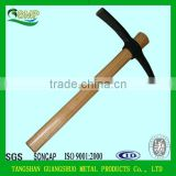 railway steel pickaxe with wooden handle