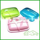 wholesale silicone folding children BPA free 3 compartment collapsible hot selling microwave airtight Japanese bento lunch box