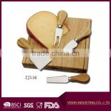4 Pieces Set Cheese Knives with Bamboo Wood Handle Steel Stainless Cheese Slicer Cheese Cutter (Round Bamboo Handle)