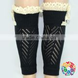 2015 New Fashion Leg Warmers Wholesale Baby Leg Warmers Baby Girls Black Sex Sock Stocking With white Lace Ruffle