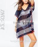 Wholesale Chiffon Women Sexy Beach Kaftan Dress V Neck Cover Up Beach Dress HSD6716